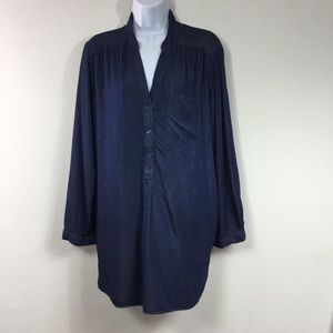 INTRO 100% BAMBOO CHAMBRAY POPOVER TUNIC TOP